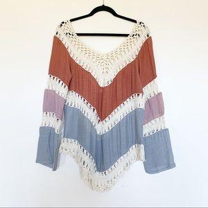 Tops - Women's Boho V-Neck Crochet Tunic Top